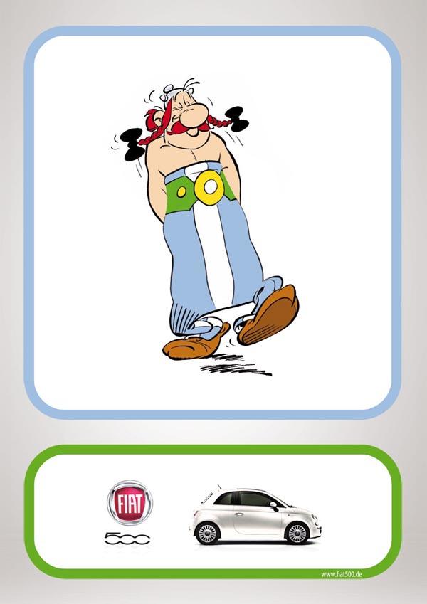 原创手绘插画-菲亚特500汽车创意卡通广告设计_子木